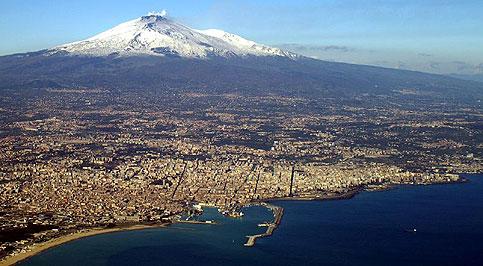 Catania in inverno, veduta aerea